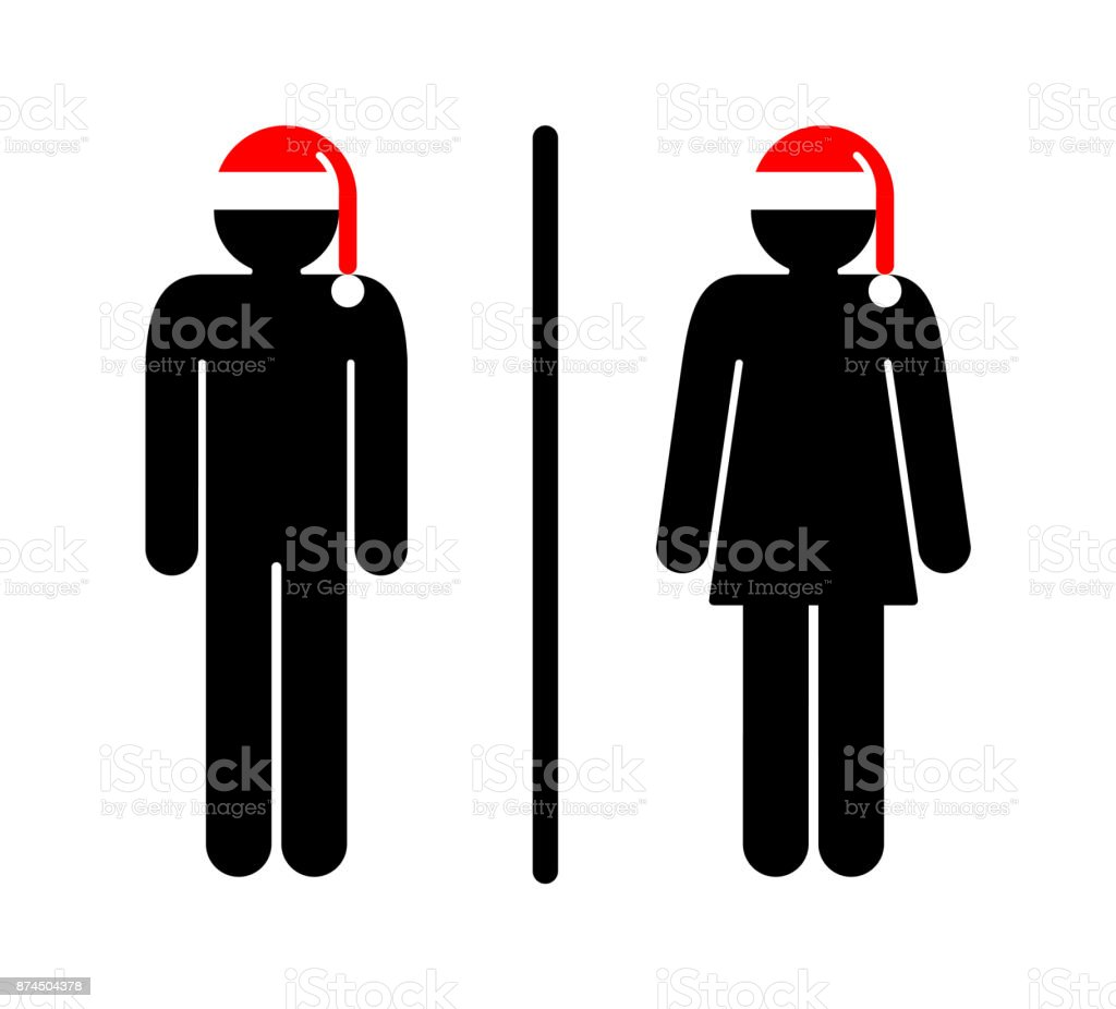 Restroom Sign For Christmas Stock Vector Art More Images Of Rh Istockphoto Com
