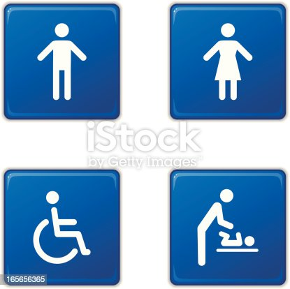 Square restroom sign icons: man, woman, disabled and baby changing station.