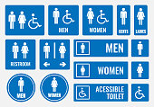 toilet signs and restroom icons, wc labels