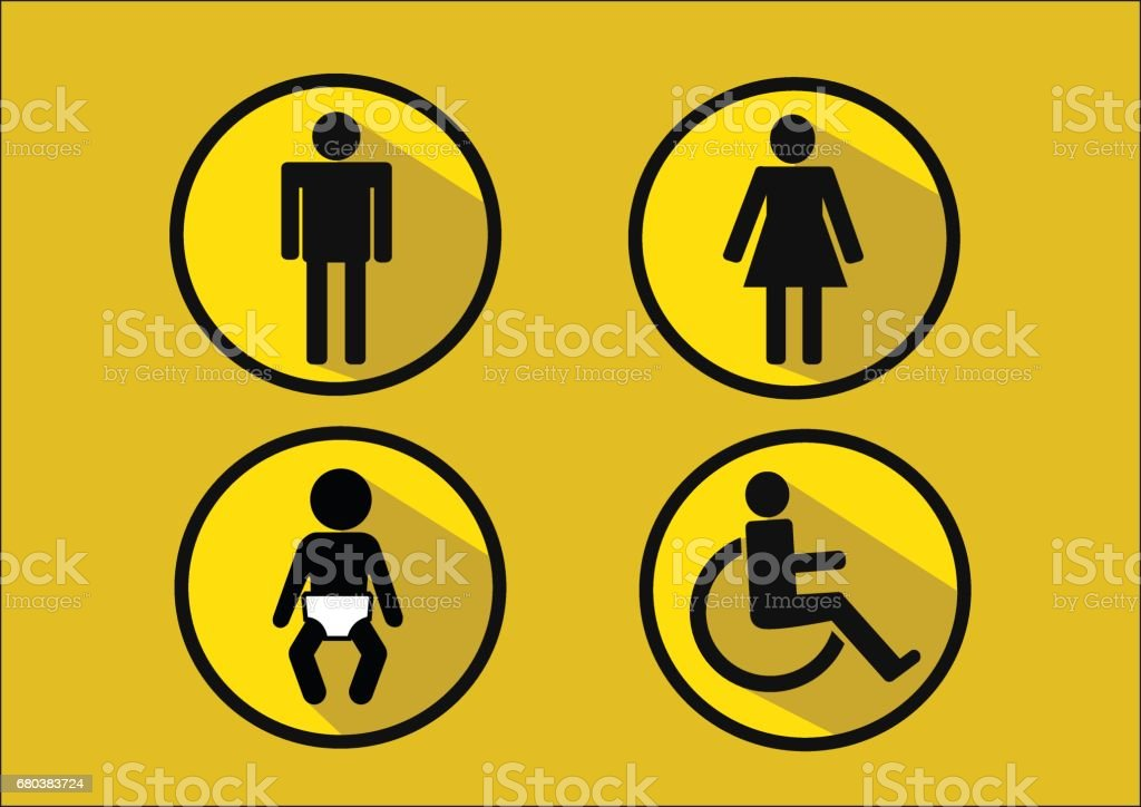Restroom Symbol Icon of man woman  disability and  child royalty-free restroom symbol icon of man woman disability and child stock vector art & more images of adult