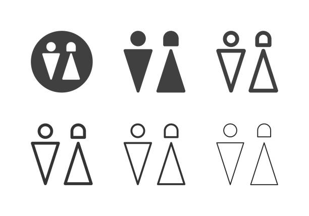 restroom symbol icons - multi series - old man sex clip art stock illustrations, clip art, cartoons, & icons