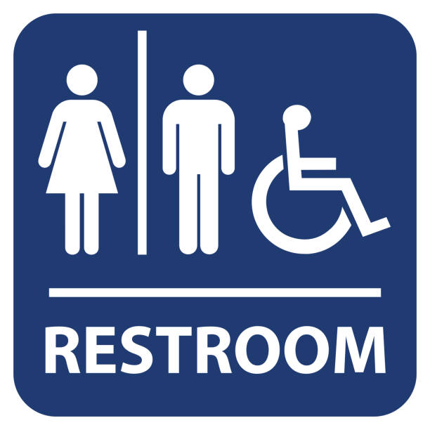 illustrations, cliparts, dessins animés et icônes de signe de vecteur de toilettes - handicap