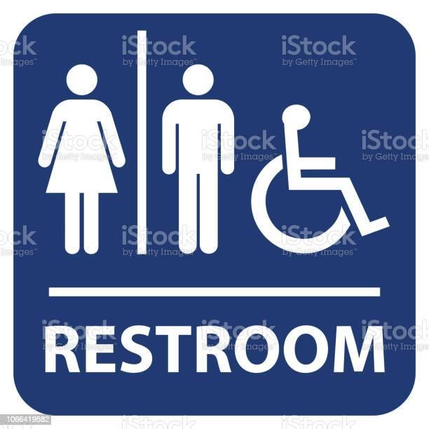 Restroom Vector Sign - Arte vetorial de stock e mais imagens de Adulto
