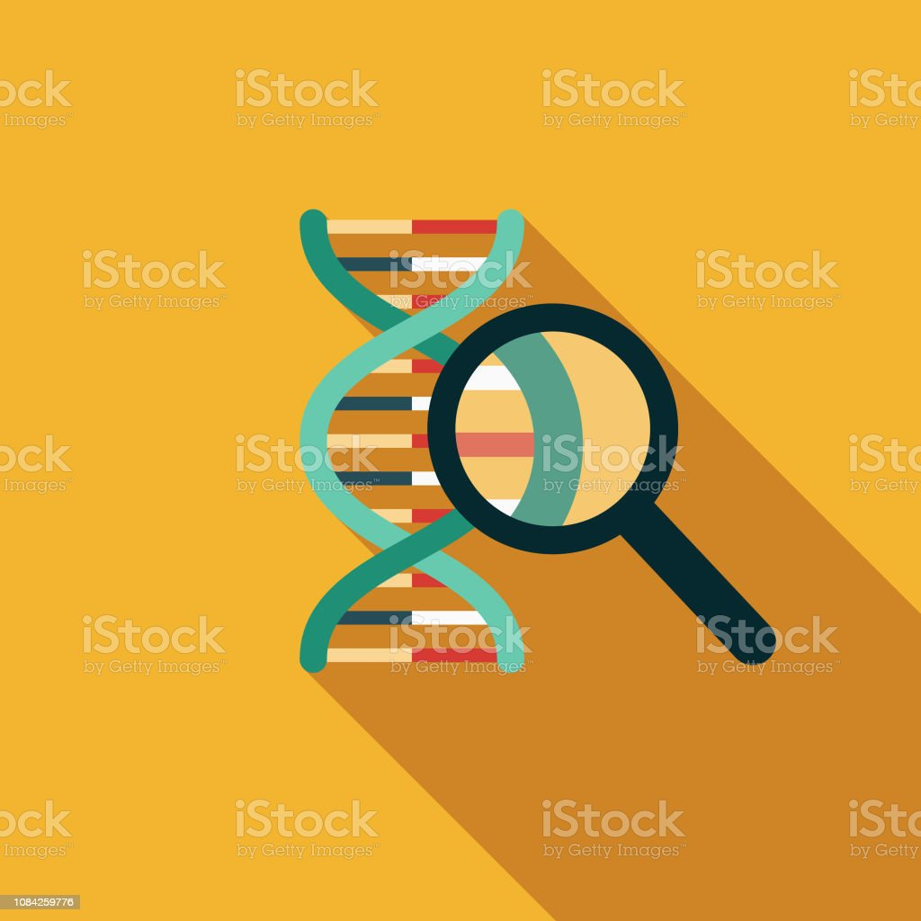 DNA Results Flat Design Genetic Testing Icon A flat design styled icon with a long side shadow. Color swatches are global so it's easy to edit and change the colors. Alertness stock vector
