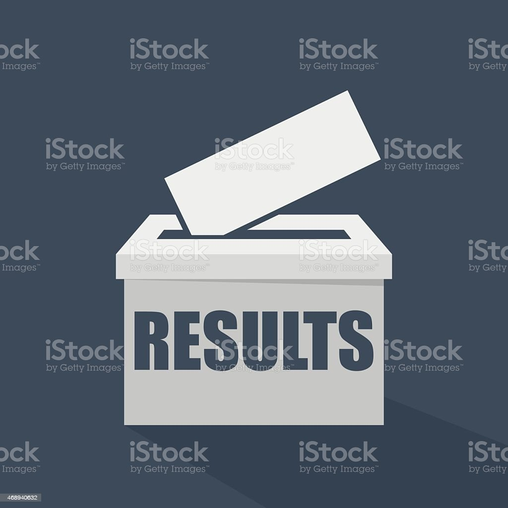 Results written on a white voting ballot box vector art illustration
