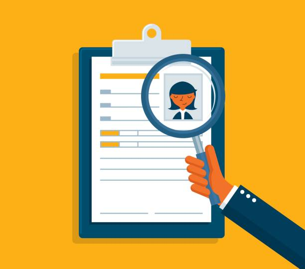 resume analysis Hands and resume analysis vacancy stock illustrations