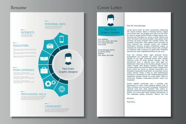 resume and cover letter collection.  modern cv set with infograp - business cv templates stock illustrations
