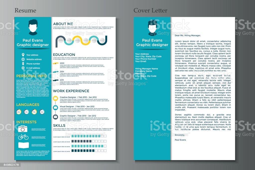 Ilustracion De Curriculum Vitae Y Carta De Coleccion Cv Moderno Con
