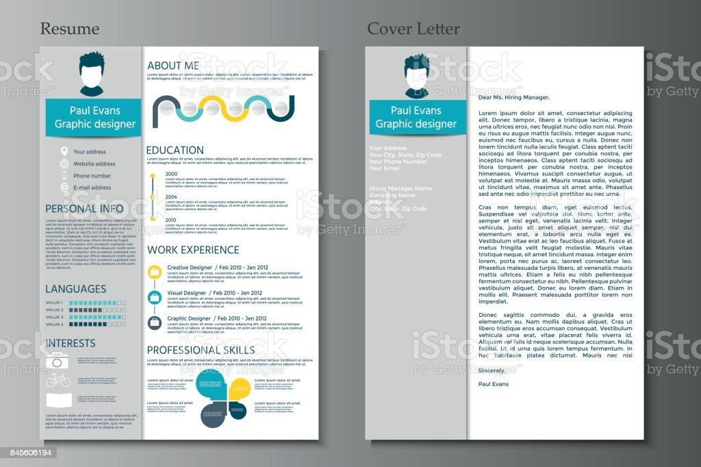 Resume And Cover Letter Collection Modern CV Set With Infograp