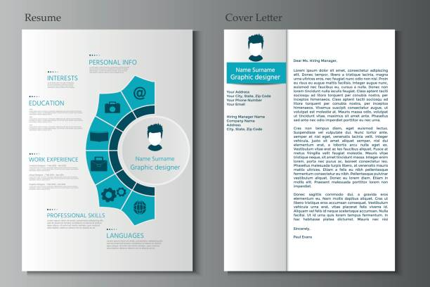 resume and cover letter collection.  modern cv set with infographics elements. - resume templates stock illustrations