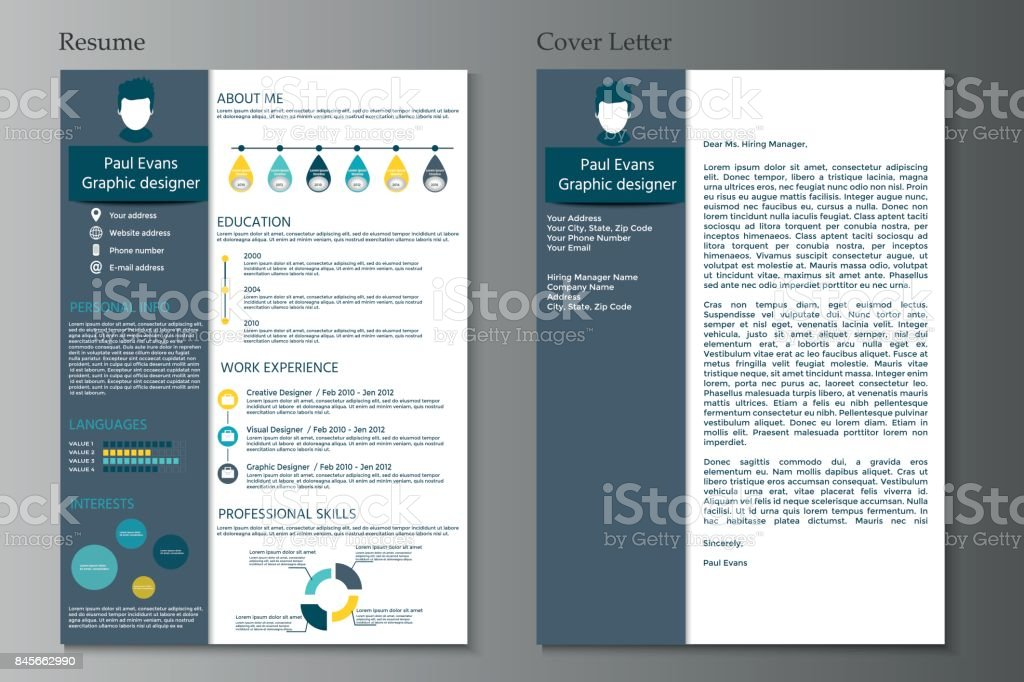fac279d4f538 Resume and Cover letter collection. Modern CV set with Infographics  elements. - Illustration .