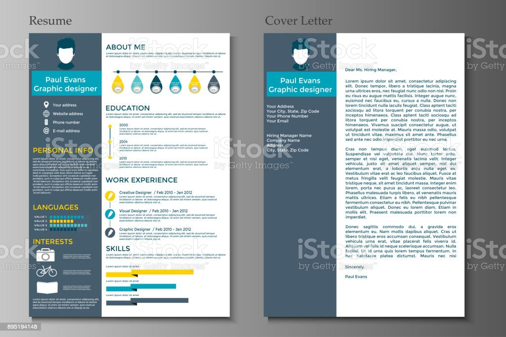Resume And Cover Letter In Flat Style Design Stock Illustration