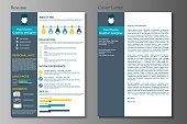 Resume and Cover letter in flat style design on grey background. CV set with Infographics elements. Clean vector.