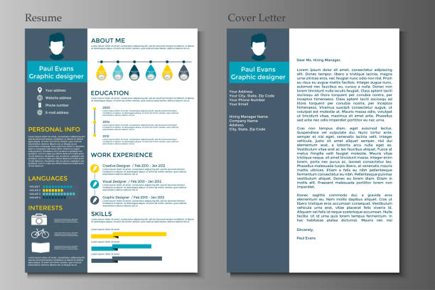 resume and cover letter in flat style design - resume templates stock illustrations
