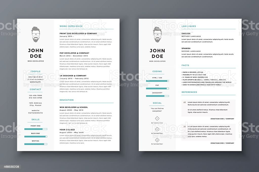 Resume and cv vector template. Awesome for job applications. - Royalty-free 2015 stock vector