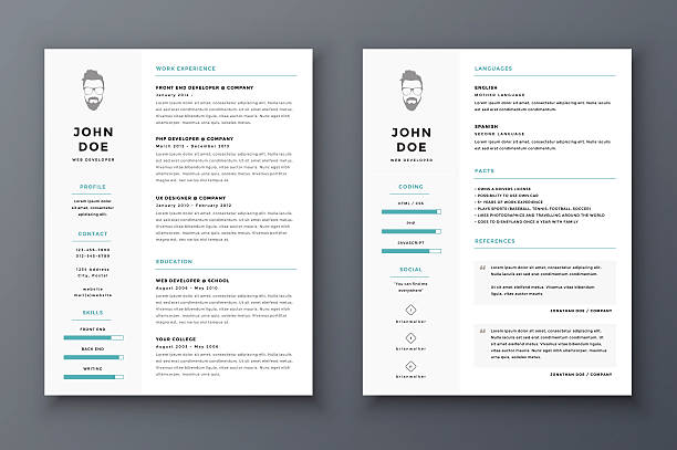 bildbanksillustrationer, clip art samt tecknat material och ikoner med resume and cv vector template. awesome for job applications. - curriculum vitae