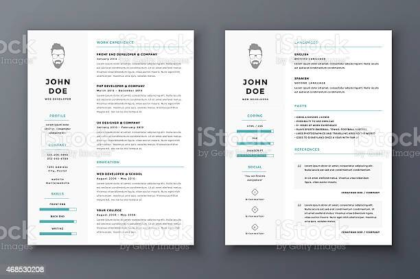 Resume And Cv Vector Template Awesome For Job Applications Stock Illustration - Download Image Now