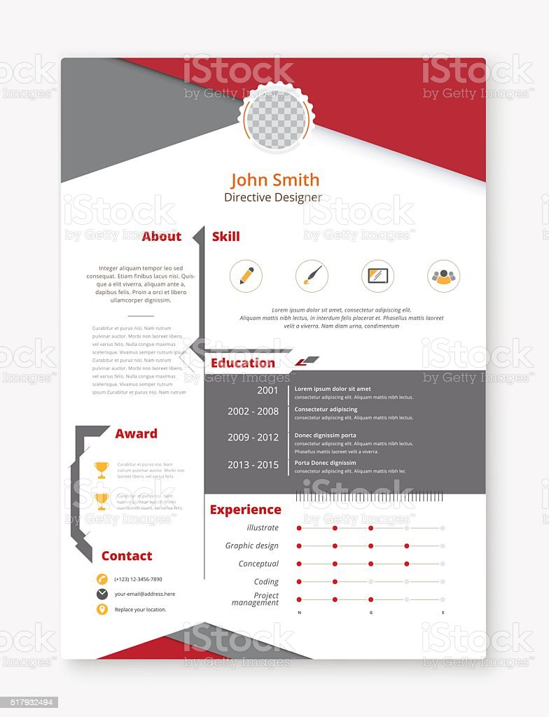 resume and cv vector template awesome for job applications stock vector art  u0026 more images of