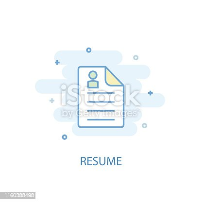 Resume concept trendy icon. Simple line, colored illustration. Resume concept symbol flat design from Human resources set. Can be used for UI/UX