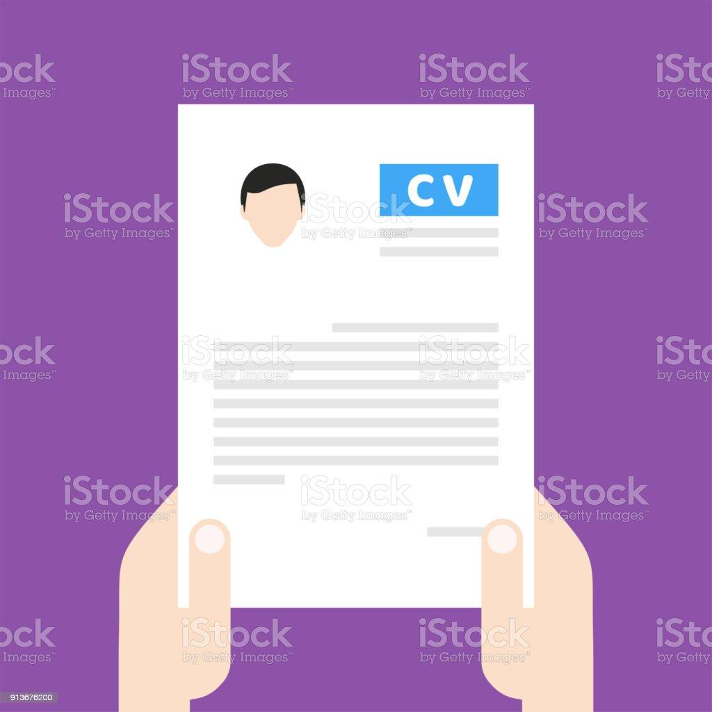 Ilustracion De Curriculum Vitae Cv Encontrar Persona Para