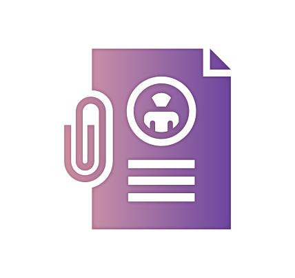Resume CV Guidance Gradient Fill Color & Paper-Cut Style Icon Design
