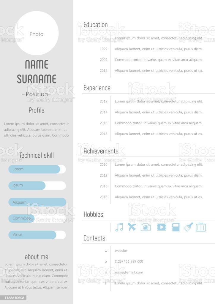 Resume Cv Vorlage Profildesign Stock Vektor Art Und Mehr Bilder Von