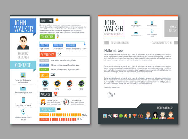 resume cv template Two pages job candidate cv template with work experience resume vector illustration business cv templates stock illustrations