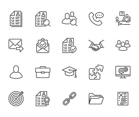 Resume flat line icons set. Hr human resources, job application, interview employee profile, teamwork, work experience vector illustrations Portfolio outline signs Pixel perfect 64x64 Editable Stroke