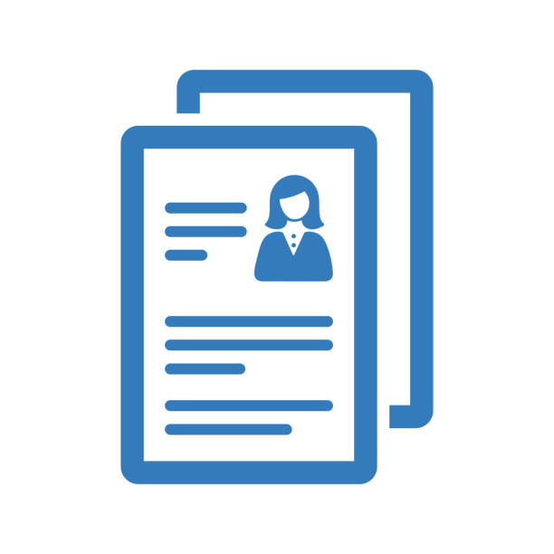 CV, resume icon / blue vector Cv, resume icon. Use for commercial, print media, web or any type of design projects. business cv templates stock illustrations
