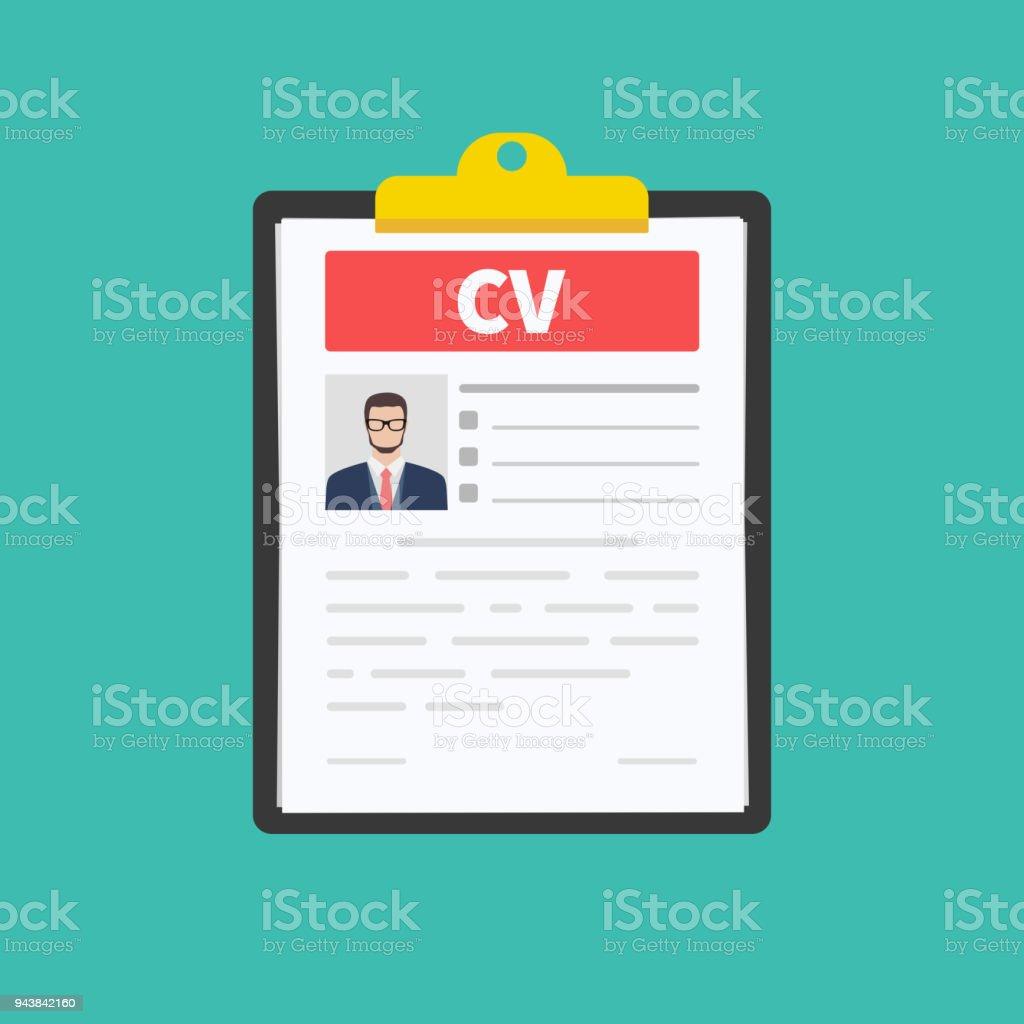 Ilustración de Curriculum Vitae Cv Concepto De Entrevista De Trabajo ...