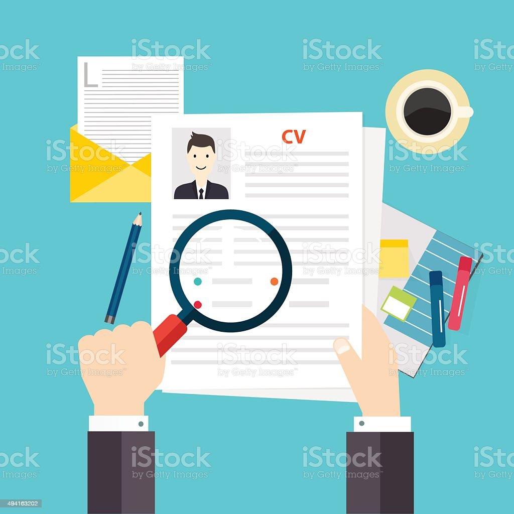 Lebenslauf wieder. Job interview Konzept. Schreiben eines Lebenslaufs. – Vektorgrafik