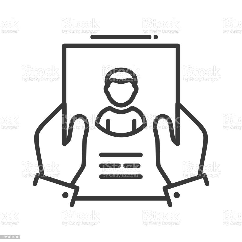 Resume - line design single isolated icon vector art illustration