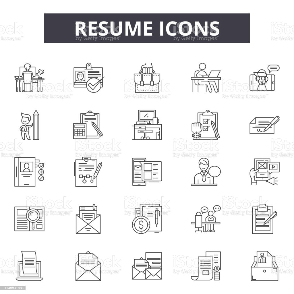Resume Line Icons Signs Vector Set Linear Concept Outline Illustration Stock Illustration Download Image Now Istock