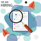 Resume, male and female resumes. Search for a suitable job candidate. Resume icon. We need you. Vector, cartoon illustration.