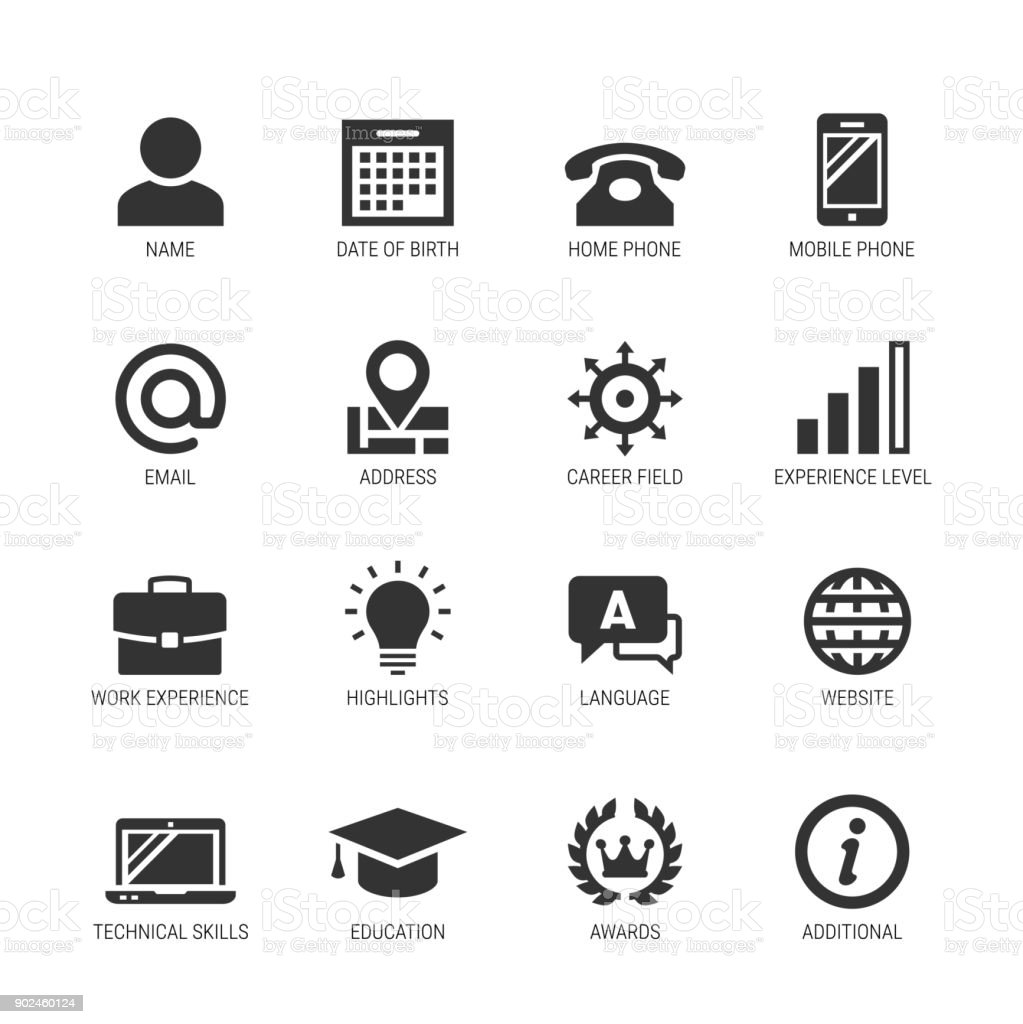 resume or curriculum vitae related vector icon set stock