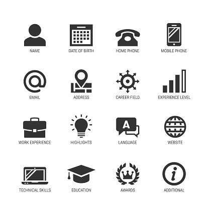 Resume or curriculum vitae related vector icon set