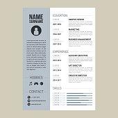 Minimalist Resume or CV vector template job applications.