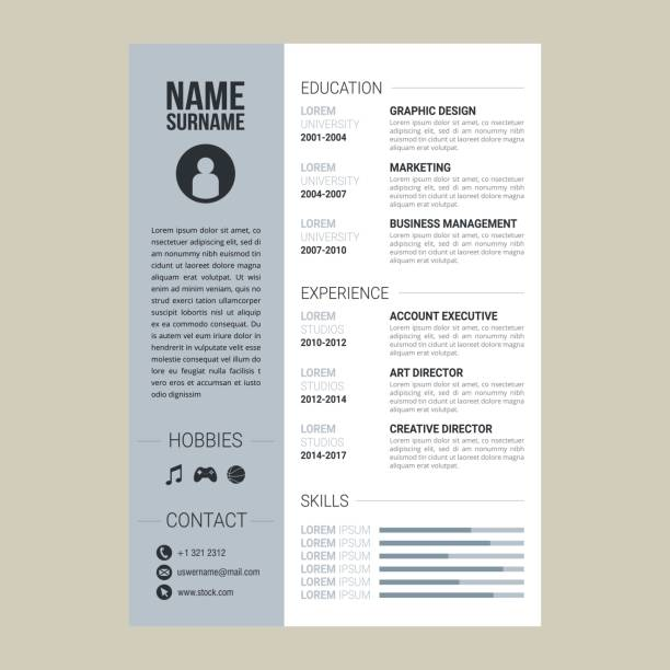 resume or cv vector template job applications. - resume templates stock illustrations