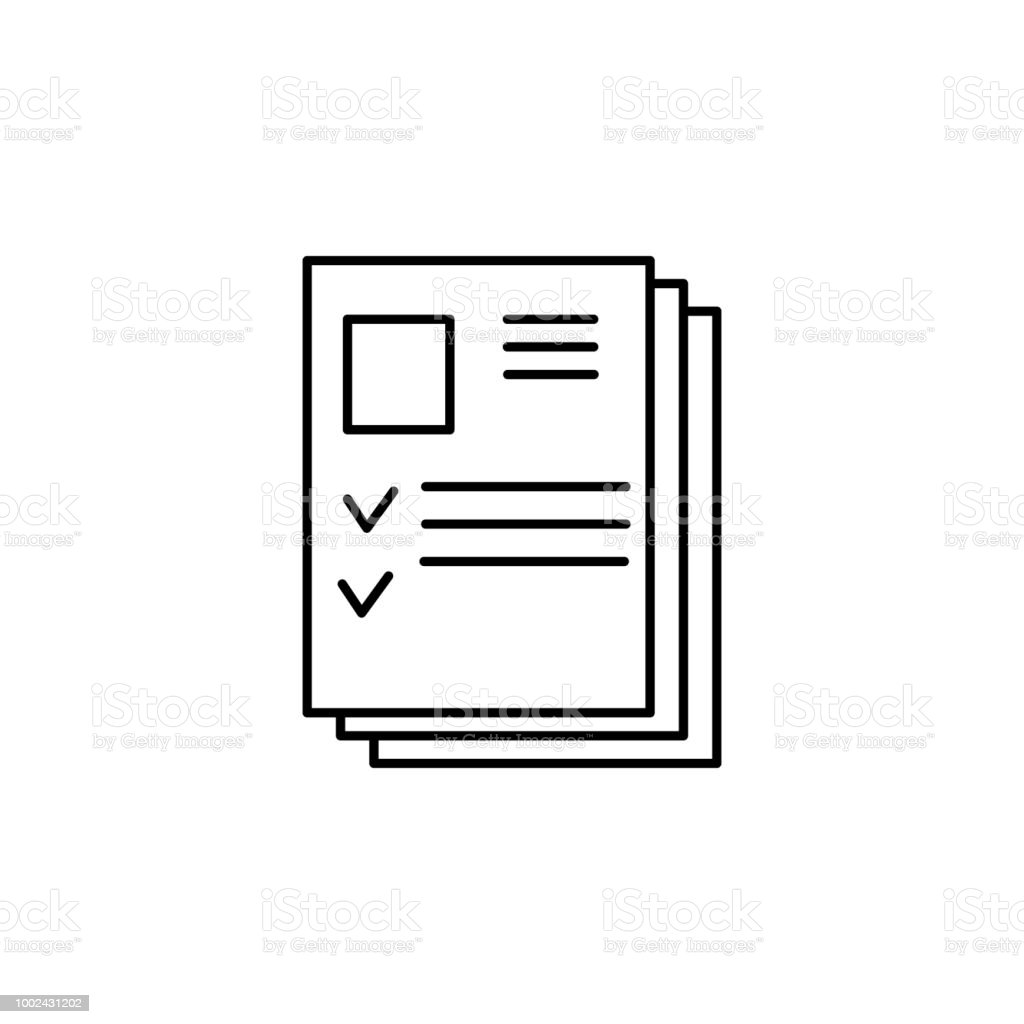 resume pile element of job interview icon for mobile concept and web