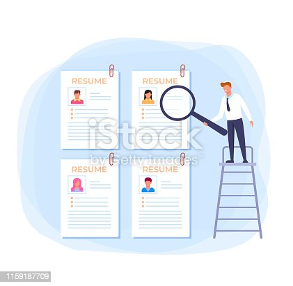 istock Resume searching new job employment concept. Vector flat cartoon design graphic illustration 1159187709