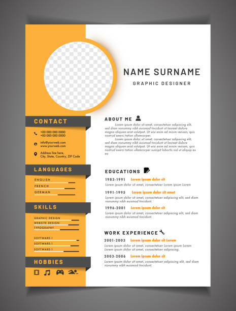 resume template can be use as letterhead or cover letter. professional cv design with placeholder. - resume templates stock illustrations
