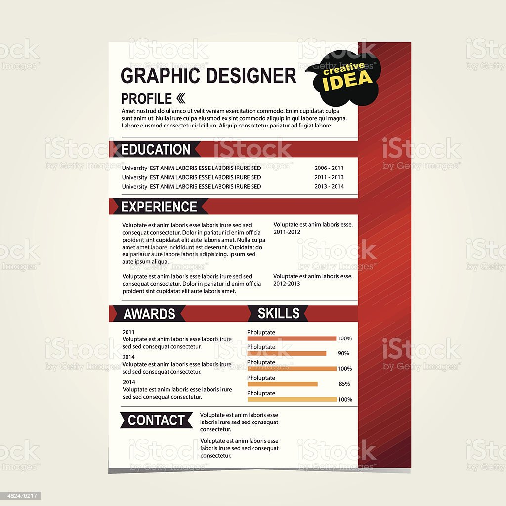 Resume Template Cv Creative Background Stock Illustration Download Image Now Istock