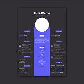 Simple blue color cv resume template design