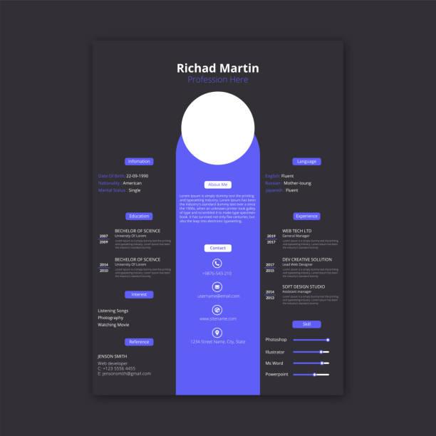 CV resume template design Simple blue color cv resume template design resume templates stock illustrations