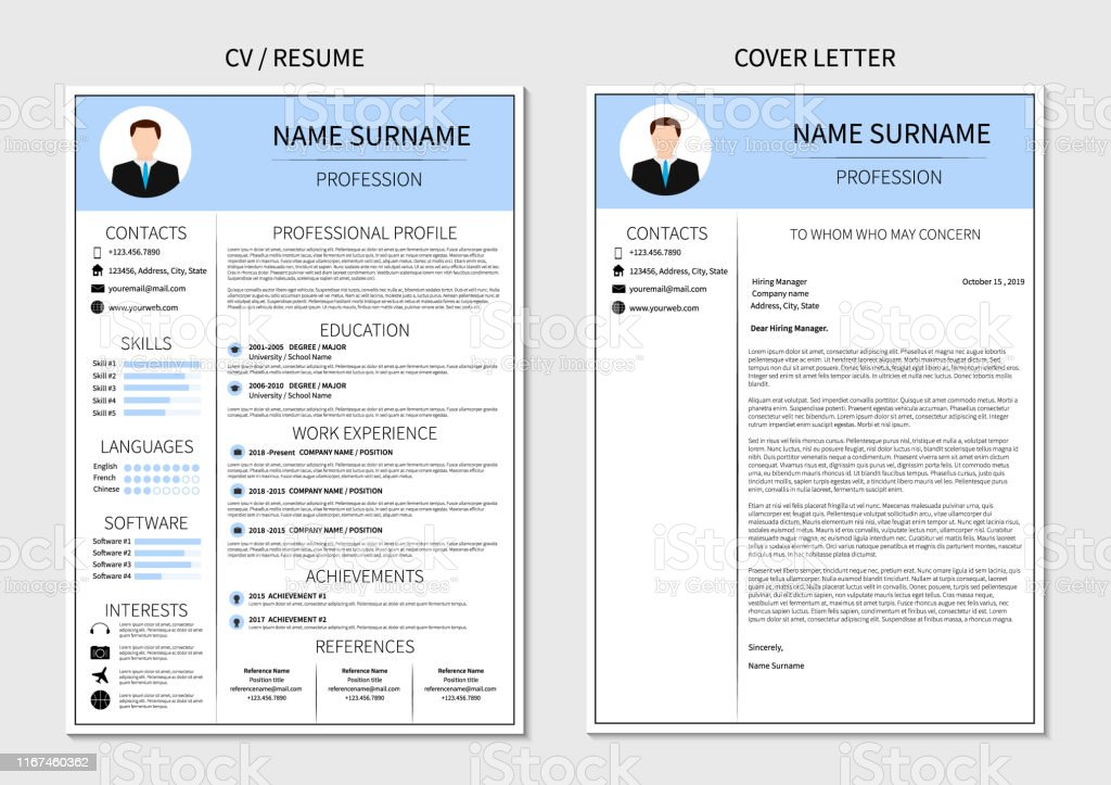 resume template for men modern cv and cover letter layout