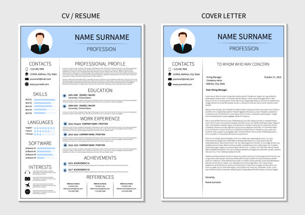 Resume template for men. Modern CV and cover letter layout with infographic. Minimalistic  curriculum vitae design. Employment vector illustration. Resume template for men. Modern CV and cover letter layout with infographic. Minimalistic  curriculum vitae design. Employment vector illustration. resume templates stock illustrations