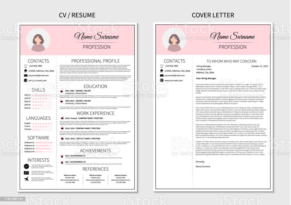 Resume template for women. Modern CV and cover letter layout with...