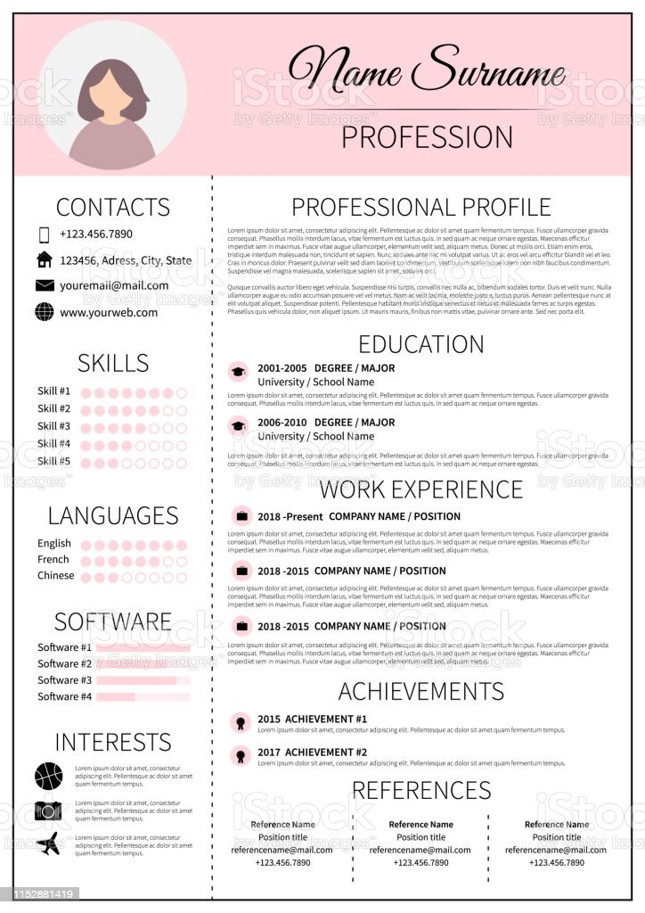 Resume Template For Women Modern Cv Layout With Infographic