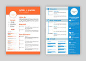 Resume template. Professional personal description profile, curriculum letterhead cover, business layout job application creative vector header cv page set
