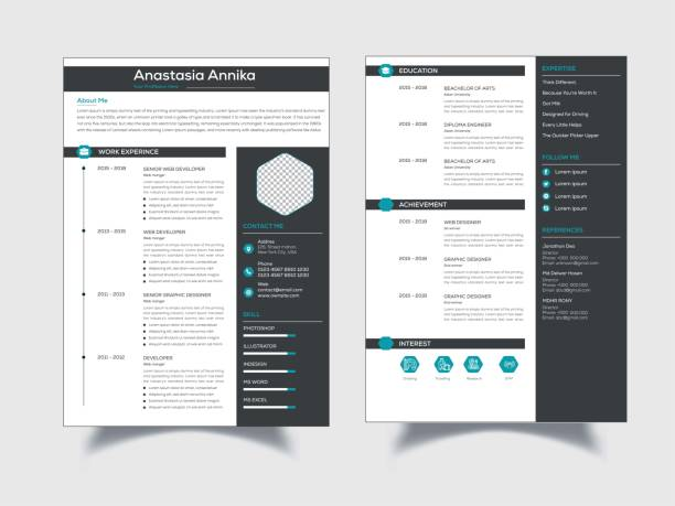 CV, resume template stock illustration This is a Elegant, Clean, Creative, Modern & High Class Clean Resume/CV. This template download contains a 300 dpi print-ready CMYK Ai files.   Size A4. Bleed (0.25inx0.25in). CMYK 300DPI Color Design.  Files & Features  Size A4 Bleed (0.25inx0.25in) EPS, PSD & MS WORD Files Shape Layered Layered By Name CMYK, 300 DPI Fully Print Ready 100% Editable & Customizable 100% Vector & Resizable Elements Bleeds, Guides, Included Free Font Used Support txt. File Included  free font used resume templates stock illustrations